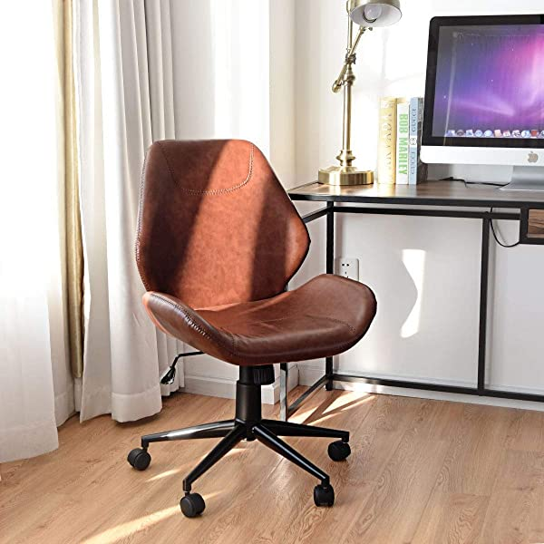 KOVALENTHOR Swivel Office Desk Chair Upholstered Rolling Chair Height Adjustable With 5 Rolling Casters Leisure Mid Back Brown