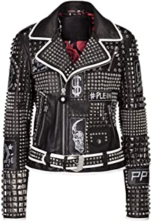 New Biker Philipp Plein Spiked Black Studded Genuine Cowhide Leather Jacket for Women