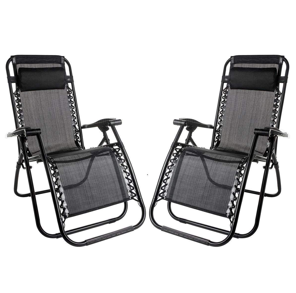 KNMY Heavy Duty Zero Gravity Chairs, Set of 7 Garden Chairs Outdoor Patio  Sunloungers Folding Reclining Chairs Lounger Deck Chairs for Home, Garden,