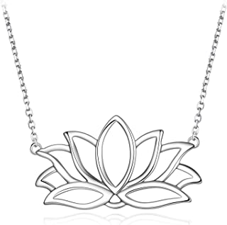 Kalapure S925 Sterling Silver Yoga Lotus Flower Pendant Necklaces for Girls Women Christmas, Valentine's, Birthday Gift 18''