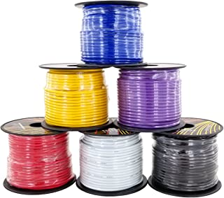 16 Gauge 6 Color Primary Wire Combo Pack 100 ft per Roll (600 feet Total) for Automotive Dash Harness Hookup Car Speaker Audio Amplifier Remote Model Train LED Light Wiring
