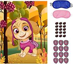 Paw Patrol Party Games, Pin The Chase's Tag on Paw Patrol, 36 PCS Nose Stickers for Boys Girls Paw Patrol Theme Party Birt...