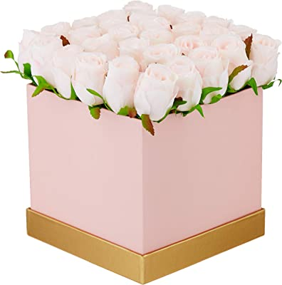 Fourwalls Artificial Rose Flowers in a Box for Valentines Day Gift (25 Flower in Box, 20 cm Tall, Pink and Light/Pink)