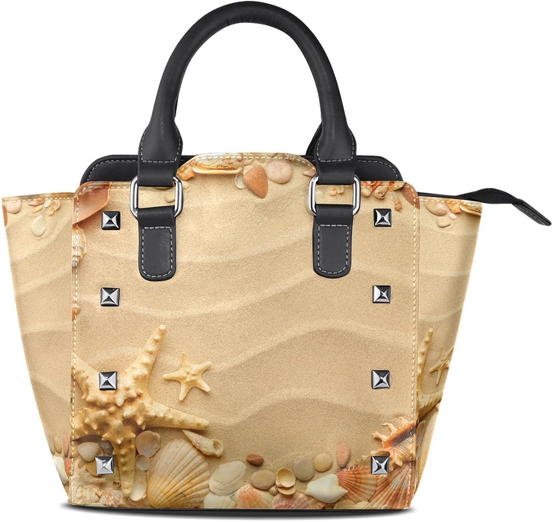 My Little Nest Women's Top Handle Satchel Handbag Sea Shells Sand Ladies PU Leather Shoulder Bag Crossbody Bag