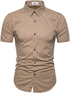Men's Printed Dress Shirt-Cotton Casual Short Sleeve Regular Fit Shirt