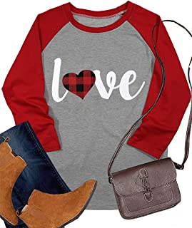 Love Shirt Valentine's Day Baseball T Shirt for Women Plaid Love Heart Graphic Tee 3/4 Sleeve Raglan Tops Blouse
