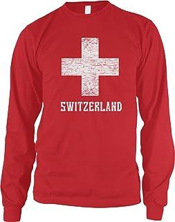 Amdesco Men's Switzerland Coat of Arms, Swiss White Cross Long Sleeve Shirt