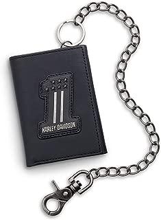 Men's #1 Logo Trifold Biker Chain Wallet, Black