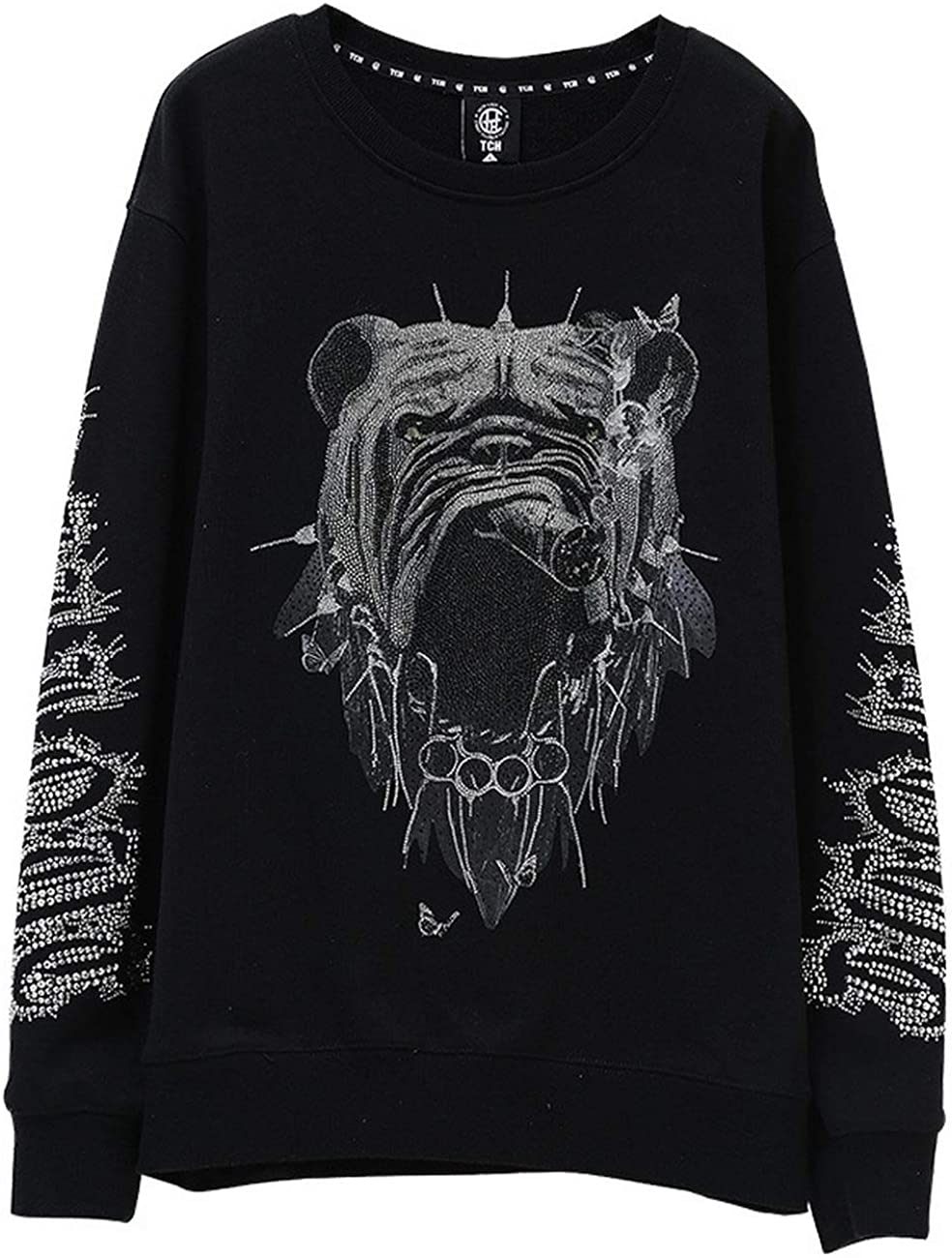 Light Luxury Tide Brand Big Dog growled C hot Beads Casual Sweater Men and Women T201116013