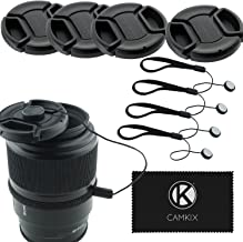 72mm Lens Cap Bundle - 4 Snap-on Lens Caps for DSLR Cameras - 4 Lens Cap Keepers - Microfiber Cleaning Cloth Included - Compatible Nikon, Canon, Sony Cameras (72mm)
