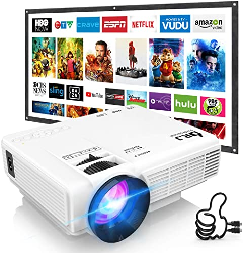 """DR. J Professional HI-04 1080P Supported 4Inch Mini Projector with 170"""" Display - 40,000 Hours LED Full HD Video Proj..."""