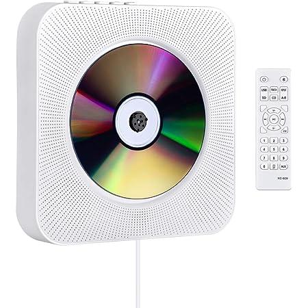 CDプレーヤー 置き&壁掛け式 1台多役 プルスイッチ式 Gueray Blue4.2 USB対応 microSD LEDディスプレイ 新バージョンのリモコン付き 音楽再生/語学学習/胎児教育 日本語説明書付き