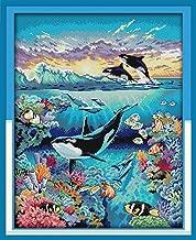 Joy Sunday Underwater World Counted Cross Stitch Kits,Embroidery Kit Cross-Stitch Supplies White Blank Fabric 14 Count 16''x19''
