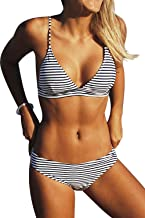 black and white striped 2 piece swimsuit
