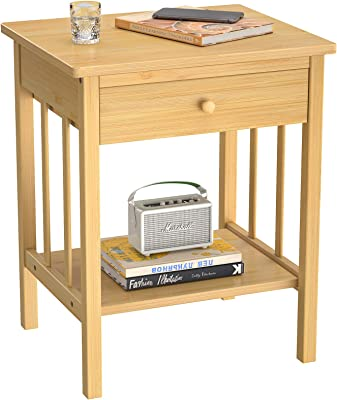 Girapow Nightstand End Table, Bamboo Bedside Night Stand Accent Side Table Stable with Drawer Organizer Shelf for Bedroom Living Room, Easy to Assemble, Space Saving, Natural