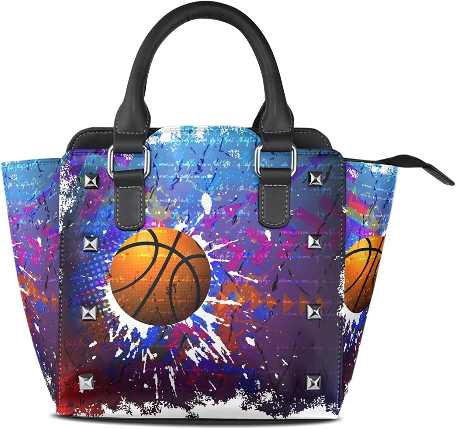 Sunlome Hippie Basketball Print Handbags Women's PU Leather Top-Handle Shoulder Bags