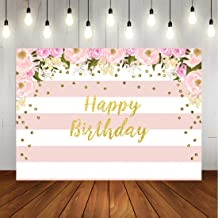Floral Happy Birthday Backdrop Watercolor Pink Flowers Party Photography Background Pink and White Stripes Glitter Dots Decorations for Girls Birthday Party Banner Photo Booth Props 7x5ft Vinyl