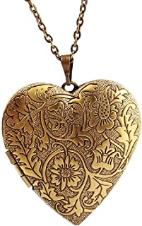 Bronze Heart Friend Photo Picture Frame Locket Pendant Chain Necklace