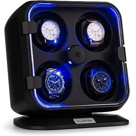 Klarstein Clover - Custodia Orologi, Watches Winder, Scatola del Tempo, 4 Orologi, 3 Rotazioni, 4 Velocità, LED, Cuscinetti Rimovibili, Meccanismo di Tensione a Molla, Nero