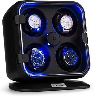 Klarstein Clover - Custodia Orologi, Watches Winder, Scatola del Tempo, 4 Orologi, 3 Rotazioni, 4 Velocità, LED, Cuscinett...