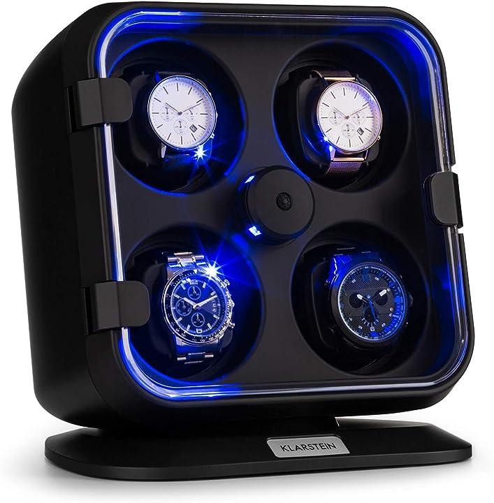 Custodia luminosa  orologi,watches winder, scatola del tempo, 4 orologi,3 rotazioni, 4 velocità, led klarstein WW1-90300-zrho