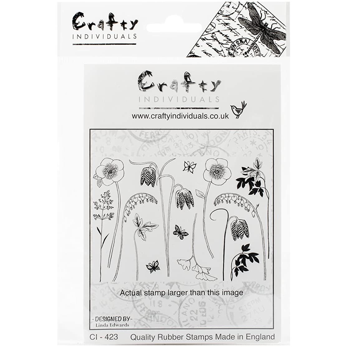 Crafty Individuals Unmounted Rubber Stamp, 4.75 by 7-Inch, Build a Spring Flower Garden