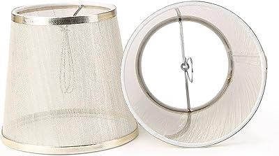 YISUN Lot de 6 Abat-jour à Clipser en Tissu pour Lustre Transparent Abat-Jour Lampe de Plafond Couverture pour lustres Lampe de Table de Sol [Or]