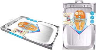 FOSA Fast Defrosting Tray, Alloy Aluminum with Elevated Edge and Drip Tray, Silver, 10.3 by 6.9 inch Size