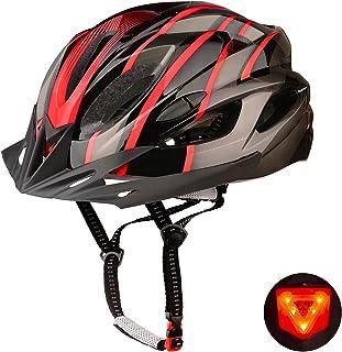 Shinmax Casco Bicicleta,Casco Bicicleta Adulto,Casco Bicicleta con Visera,Certificado CE Casco Bicicleta con luz Casco de ...