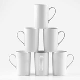 Amuse- Professional Barista Classic Tall Mug for Coffee, Tea or Latte- Set of 6-12 oz.