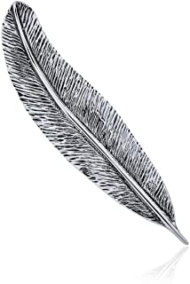 Feather Leaf Pin Brooch For Women Oxidized 925 Sterling Silver