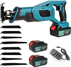 21V Cordless Reciprocating Saw, Sabre Saw with 8 Saw Blades, 2 Li-ion Batteries, AU Plug Charger, Tool Bag