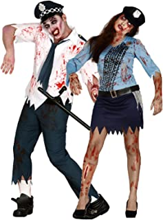 Couples Ladies and Mens Dead Bloody Zombie Police Man Police Woman Officers Cops Halloween Fancy Dress Costumes