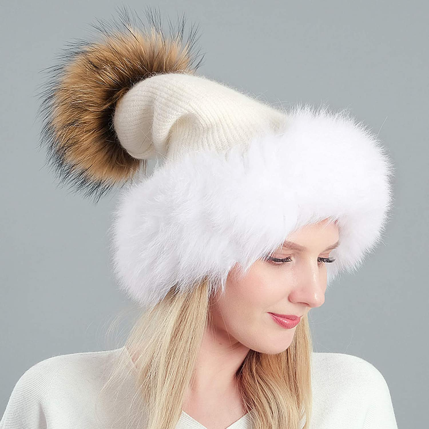 BELEMON Women Winter Hat Thick Very popular Pompom Femal Fur New color Knitted Warm