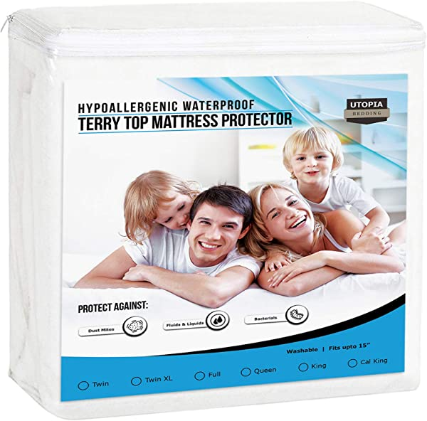 Utopia Bedding Premium Waterproof Mattress Protector Breathable Fitted Mattress Cover Twin