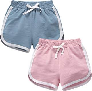 T.H.L.S Boys & Girls 2 Pack Running Athletic Cotton Shorts, Kids Basic Workout and Fashion Summer Beach Sports 4-5T