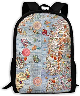 XEDHG Carta Marina Sea Monster Map Canvas Travel Laptop Backpack Women's College Backpack Bag 15 Inch Outdoor Backpack