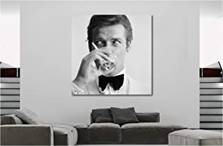 Roger Moore - James Bond - Canvas Wall Art Framed Print - Various Sizes (24x24 inches Framed)