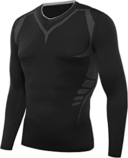 Witkey Men's Pro Compression Long Sleeve T-Shirt Sports Tights Baselayer Cool Dry
