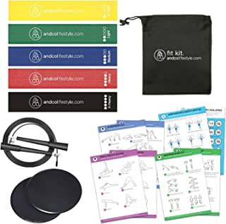 5 PC Resistance Loop Bands Set for Physical Workout, Strength Training, Yoga, Stretching | Home Gym Fitness Kit Includes 2...