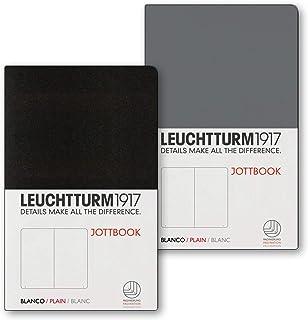LEUCHTTURM1917 Jottbook Double Pack (Anthracite & Black) - Plain Pocket (A6) - 59 Numbered Pages Each