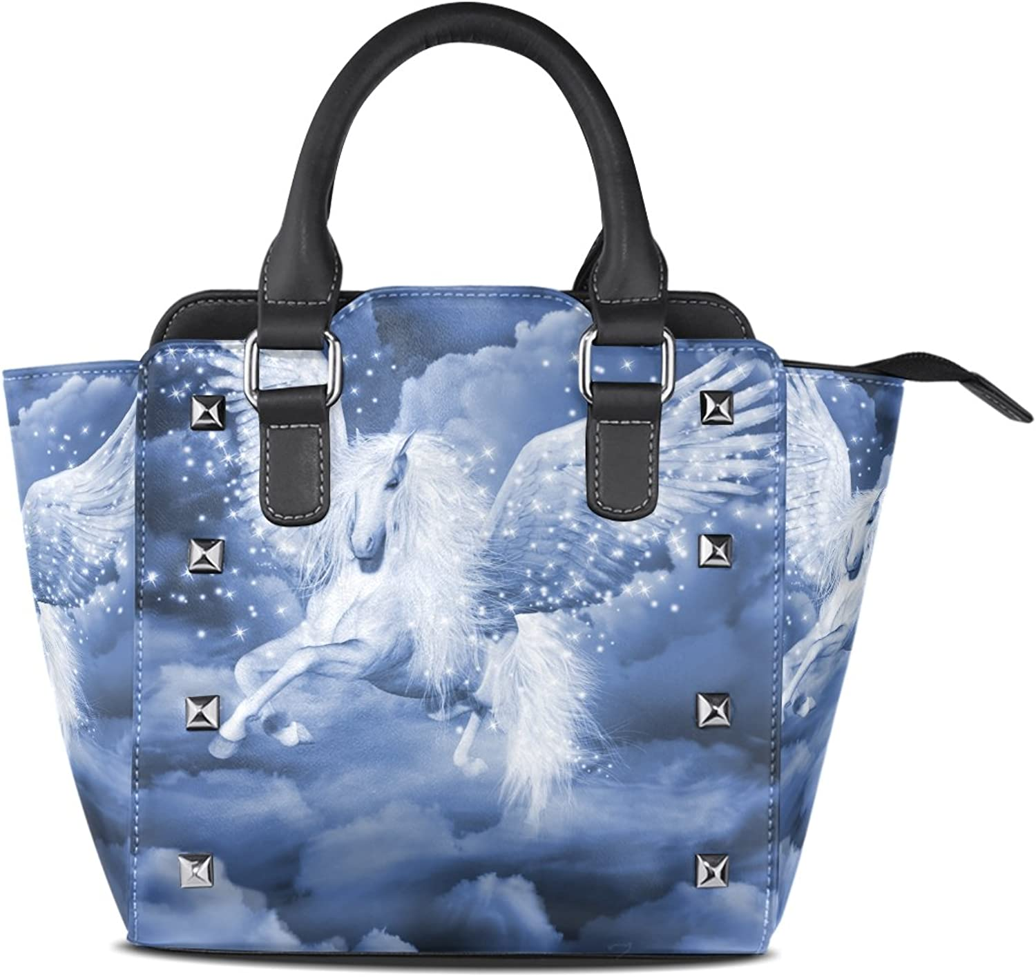 Sunlome Fairy Pegasus in The Galaxy Print Women's Leather Tote Shoulder Bags Handbags