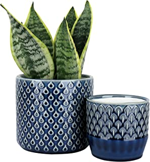 LA JOLIE MUSE Ceramic Planter Set of 2 - 6.3 Inch Peacock Feather Pattern Embossed Flower Pot with Drain Hole for Indoor, ...