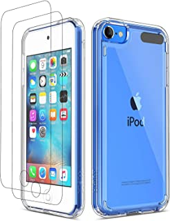 ULAK Funda iPod Touch 7, iPod Touch 5/6 Carcasa con 2 películas Protectoras Híbrido Clear Slim Cubierta de la Suave Resistente a Rayones Absorción de Choque Caso para iPod Touch 5/6/7 - Transparente