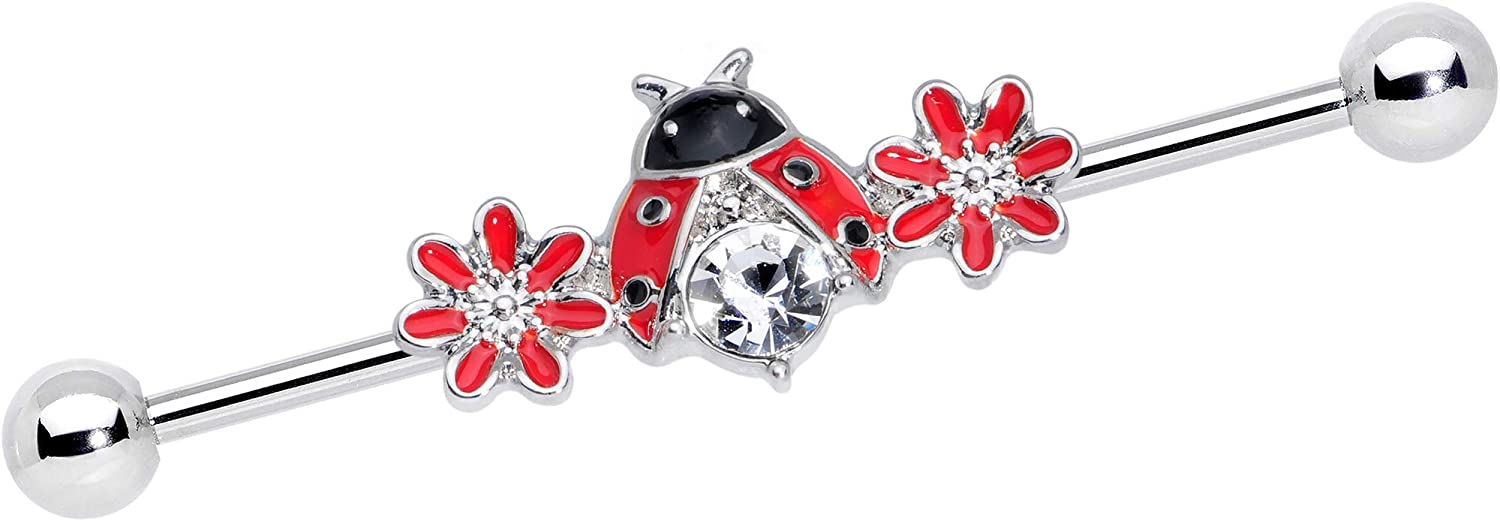Body Candy Womens 14G 316L Steel Helix Cartilage Earring Red Flower Ladybug Industrial Barbell 1 1/2