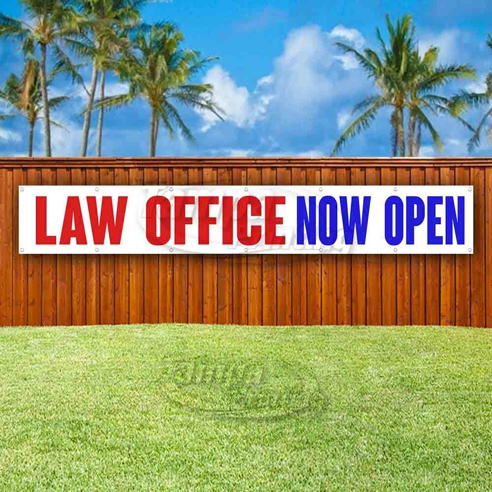 Flag Law Office Now Open Extra Large 13 Oz Heavy Duty Vinyl Banner Sign with Metal Grommets