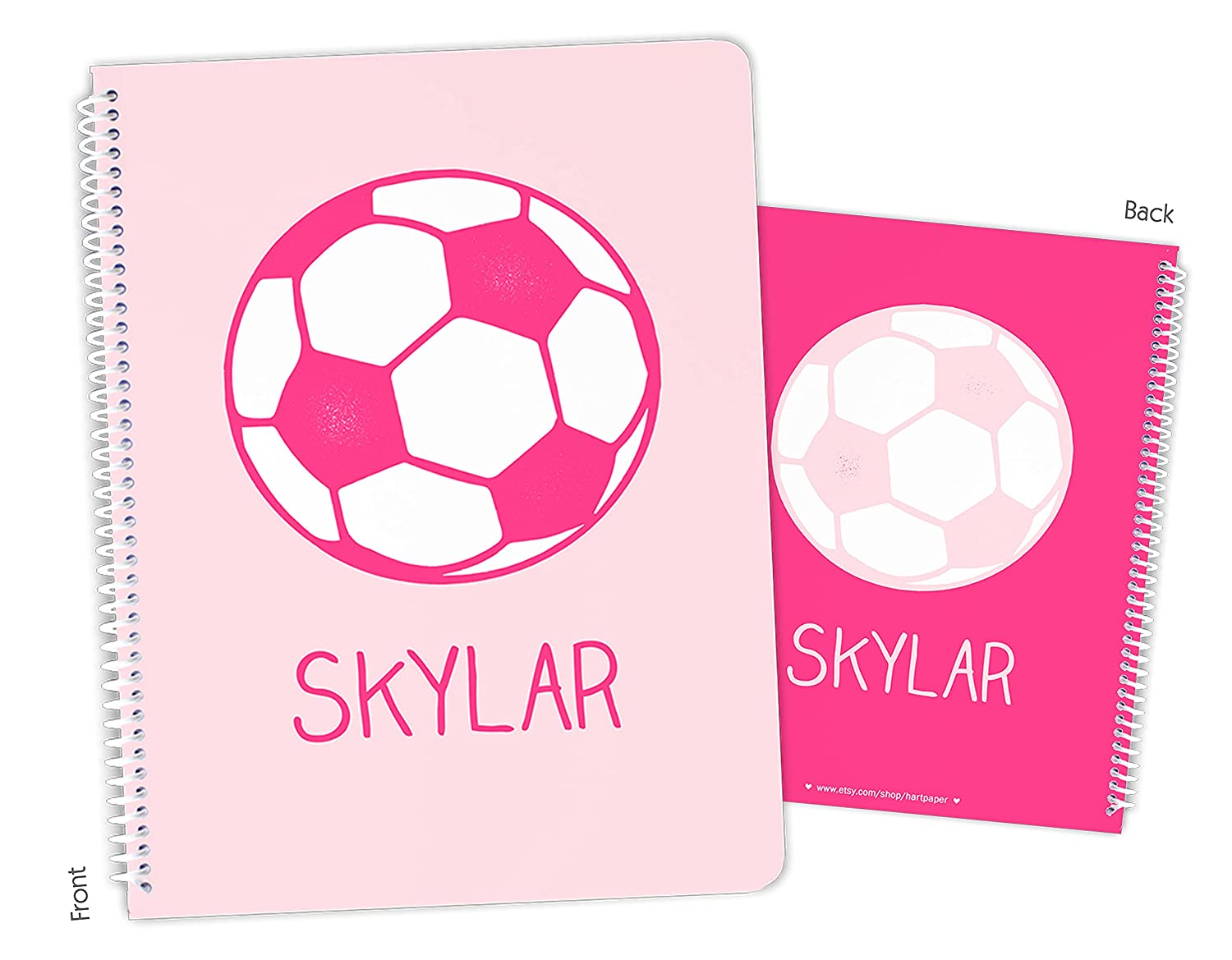 Personalized Import Pink Soccer Ball Spiral Bound Sketchbook Max 59% OFF Notebook