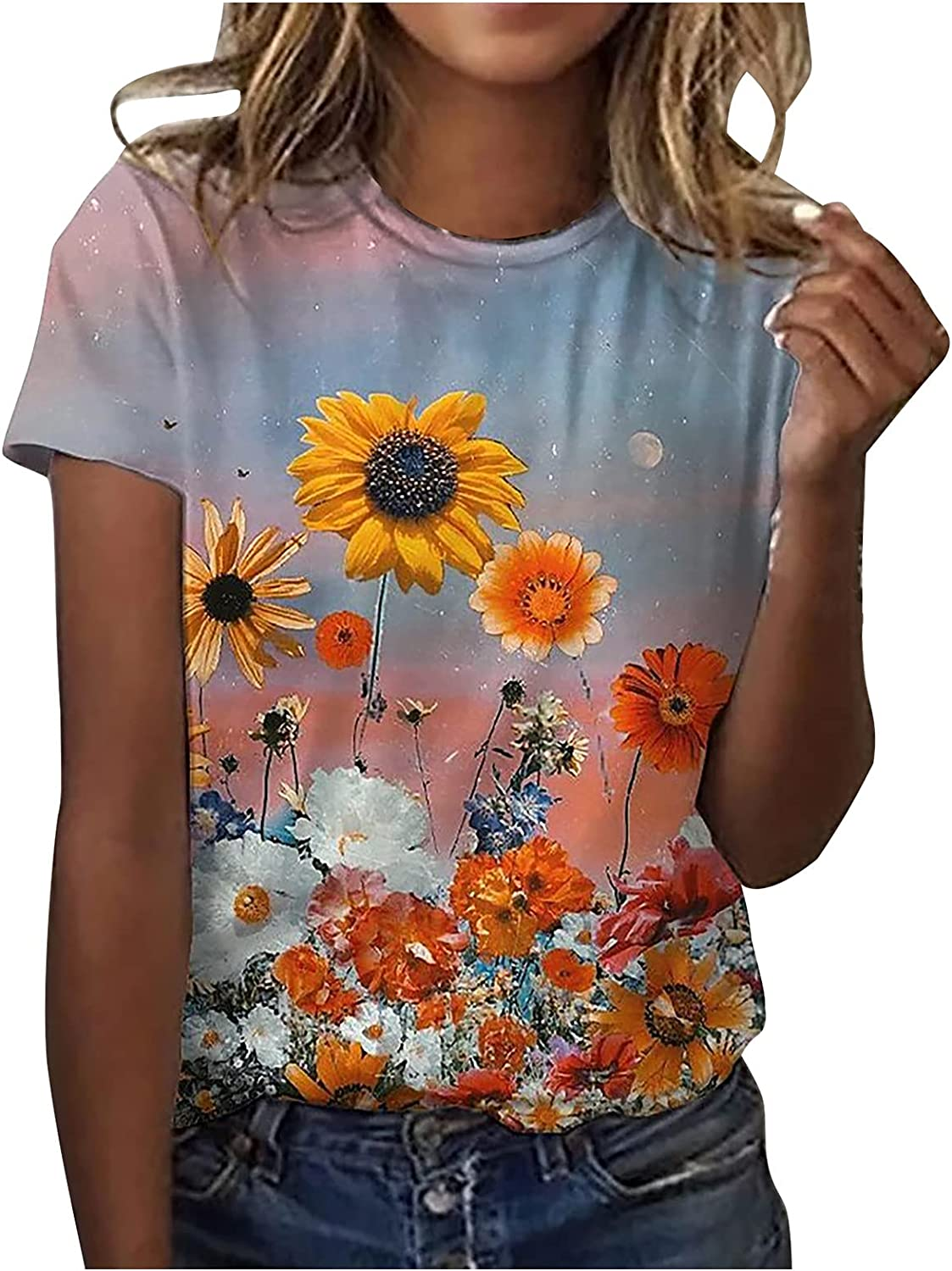 Women's Summer Blouses Short Sleeve Comfy Boat Neck T Shirts Beauitful Floral Graphic Tops Popular Casual Loose Tees