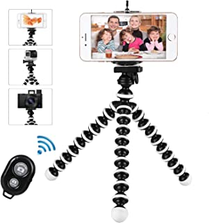 Phone Tripod, WAAO Flexible Cell Phone Tripod Portable and Adjustable Camera Stand Holder with Wireless Remote & Phone Clip Compatible with iPhone Android Phone Compact Digital Camera Gopro