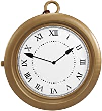 Hip Hop Rapper Clock Oversized White Rabbit Clock Non-Functioning Gold, One Size